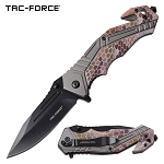 Tactical Pocket Knife Spring Assisted Knife Gray Brown Camo