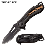 Tac Force Pocket Knife Black Bronze Aluminum Handle Spring Assisted Knife