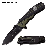 Spring Assisted Opening Pocket Knife 2 Tone Black Green Handle