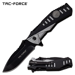 Spring Assisted Opening Pocket Knife 2 Tone Black Gray Handle