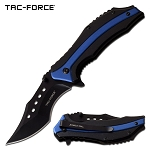 Pocket Knife Spring Assisted Knife Black Blue Aluminum Handle