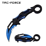Ring Handle Karambit Style Spring Assisted Folding Pocket Knife Black Blue