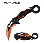 Ring Handle Karambit Style Spring Assisted Folding Pocket Knife Black Orange