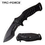 Scales on Handle Spring Assisted Folding Pocket Knife Black