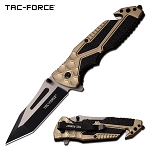 Tactical Pocket Knife Spring Assisted Knife Black Tan Handle