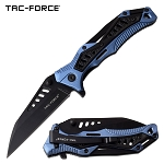 EDC Pocket Knife Spring Assisted Opening Knife Black Blue Handle