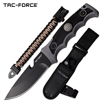 Camping Adventure Fixed Blade Survival Knife Grey Black Handle
