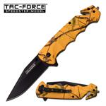 Tac Force 4.75 Inch Rescue Spring Assisted Knife Yellow Forest Camo