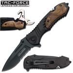 Tac Force Tactical Spring Assisted Opening Folding Knife Burl Wood Overlay