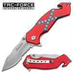 Confederate Flag Handle Tactical Rescue Assisted Opening Folder Knife