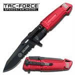 Fire Fighter Red Aluminum Handle Spring Assist Knife with LED Light