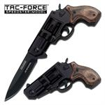 Tac-Force .38 Special Revolver Style Assist Folder Knife - Wood Handle
