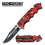 Red Skull Camo Handle Spring Assisted Folder Knife - 2 Tone Blade