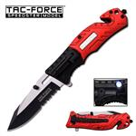 Tac-Force Spring Assisted Tactical Knife with LED Light Fire Fighter