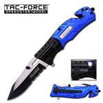 Tac-Force Spring Assisted Tactical Knife with LED Light POLICE
