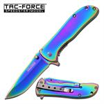 Tac Force Speedster Model Spring Assisted Folding Knife - Rainbow Titanium