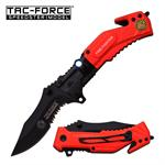 Tac Force Tactical LED Light Assisted Opening Spring Folding Knife - Red Fire Fighter