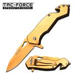 Tac-force Tactical Rescue Spring Assisted Knife with 2.7 Inch Blade Full Gold Titanium
