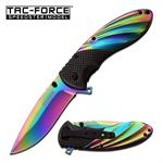 Tac-Force 3.7 Inch Spring Assisted Folding Knife Black Rainbow Titanium