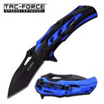 Tac-Force Spring Assisted Opening Knife 2 Tone Blue Black Aluminum Handle