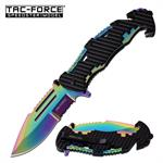 Tac-Force Rescue Style Spring Assisted Pocket Knife Black and Rainbow