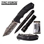 Tac Force Spring Assisted Folding Pocket Knife with Tactical Pen and LED Light