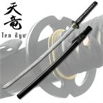 7MM Hand Forged Carbon Steel Black Katana with Real Ray Skin