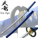 7MM Hand Forged Carbon Steel Blue Katana with Real Ray Skin