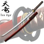 7MM Hand Forged Carbon Steel  Katana With Real Ray Skin - Red