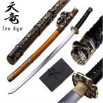 Ten Ryu 28 inch samurai katana sword with gold scabbard