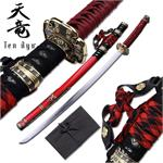 Ten Ryu 28 inch samurai katana sword with red scabbard
