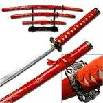Red Dragon Samurai Sword 3 Piece Set with Stand