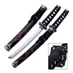 21 Inch Overall Length Samurai Oriental Sword Red Dragon Design Black Scabbard