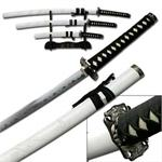 3 Piece White Dragon Samurai Sword Set With Stand