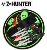 Zombie Hunter Throwing Knife 3 Piece Set with Target Board