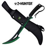 Zombie Hunter Full Tang Fixed Blade Hunting Machete Knife- Black Green