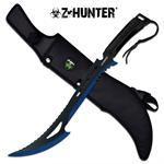 Zombie Hunter Full Tang Fixed Blade Hunting Machete Knife- Black Blue