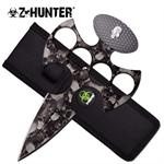 Z Hunter Fantasy Fixed Blade Knuckle Handle Push Knife - Grey Skull Camo
