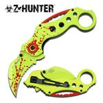 Zombie Hunter Yellow Blood Karambit Spring Assisted Knife