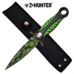 Z Hunter Fixed Blade Boot Knife - Green Skull Coating Blade
