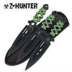 Z-Hunter 3 Piece Green Cord Wrapped Handle 7.5 Inch Thrower Knives Set