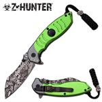 4.5 Inch Z-Hunter Skull Camo Blade Spring Assisted Knife - Green Handle