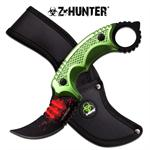 Z-Hunter Karambit Style Fixed Blade Knife - Green Handle