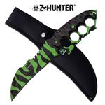 Z Hunter 13 Inch Tactical Fixed Blade Knuckle Handle Knife - Zombie Coating