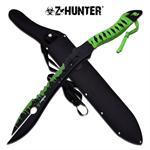 Z Hunter 25 Inch Fantasy Fixed Split Blade Short Sword - Green Blood Splatter Blade