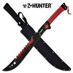 Z Hunter 25 Inch Fixed Blade Machete Knife - Red Blood Splatter Blade