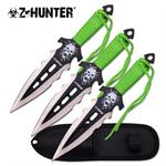Z Hunter 7.5 Inch 3 Piece Throwing Knife Set -  Black Paint Blade