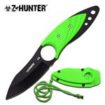 Z Hunter 7 Inch Green Neck Knife - Green ABS Sheath with Lanyard