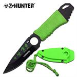 Z Hunter 7 Inch Green Cord Wrapped Handle Neck Knife - Green ABS Sheath with Lanyard