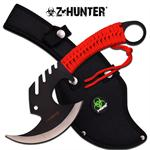 Z Hunter Full Tang Zombie Killer Tactical Throwing Axe Hatchet - Red